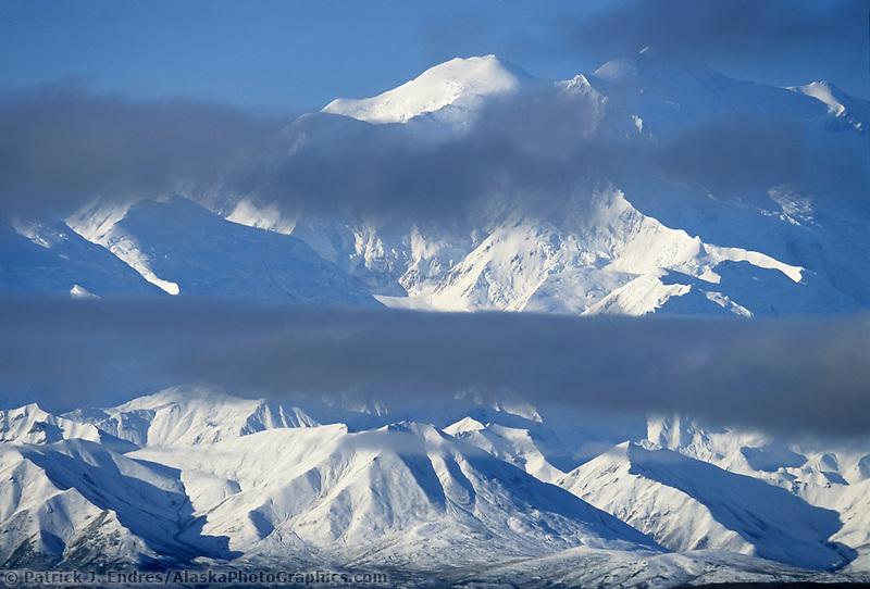 Cloud Layers Across The Face Of Mt. Denali, Denali National Park, Alaska
