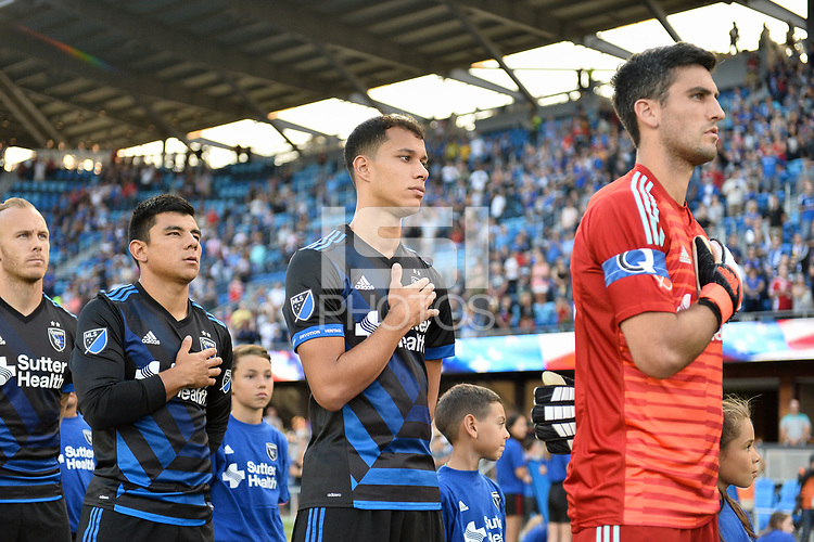 San Jose, CA - Saturday August 18, 2018: San Jose Earthquakes  during a Major League Soccer (MLS) match between the San Jose Earthquakes and Toronto FC at Avaya Stadium.