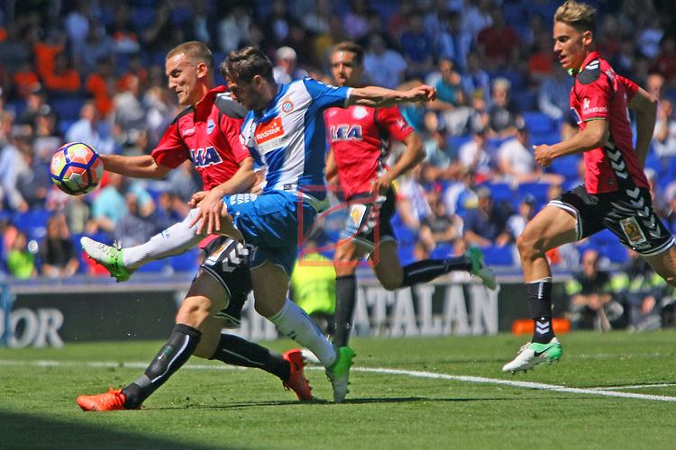 League Santander 2016/2017. Game: 31.<br /> RCD Espanyol vs Deportivo Alaves: 1-0.<br /> Rodrigo Ely vs Pablo Piatti.