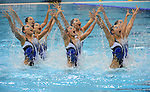 LONDON, ENGLAND - AUGUST 9: Team Japan during the Synchronized Swimming Team Competition, Day 14 of the London 2012 Olympic Games on August 8, 2012 at Olympic Park in London, England. (Photo by Donald Miralle)