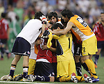 15 July 2007: Chile players celebrate, postgame. Chile's Under-20 Men's National Team defeated Nigeria's Under-20 Men's National Team 4-0 after extra time in a  quarterfinal match at Olympic Stadium in Montreal, Quebec, Canada during the FIFA U-20 World Cup Canada 2007 tournament.