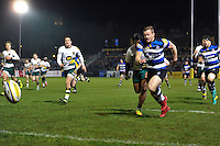 Chris Cook of Bath Rugby chases after the ball. Aviva Premiership match, between Bath Rugby and Northampton Saints on February 10, 2017 at the Recreation Ground in Bath, England. Photo by: Patrick Khachfe / Onside Images