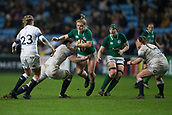 16th March 2018, Ricoh Arena, Coventry, England; Womens Six Nations Rugby, England Women versus Ireland Women; Leah Lyons of Ireland is tackled by Sarah Hunter of England