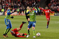 Toronto, ON, Canada - Saturday Dec. 10, 2016: Sebastian Giovinco, Osvaldo Alonso during the MLS Cup finals at BMO Field. The Seattle Sounders FC defeated Toronto FC on penalty kicks after playing a scoreless game.