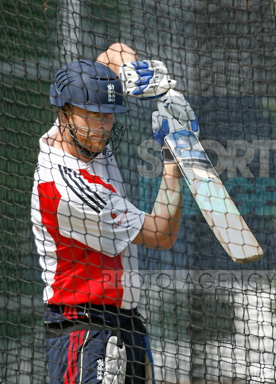 Andrew Flintoff batting in the nets at Edgbason.