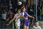 12.10.2018, Stadion an der Bremen Bruecke, Osnabrueck, GER, FSP, 1.FBL, VfL Osnabrueck vs Werder Bremen<br /> <br /> DFL REGULATIONS PROHIBIT ANY USE OF PHOTOGRAPHS AS IMAGE SEQUENCES AND/OR QUASI-VIDEO.<br /> <br /> im Bild / picture shows<br /> Christian Groß (Werder Bremen #57) im Duell / im Zweikampf mit Steffen Tigges (VfL Osnabrueck #19), <br /> <br /> Foto © nordphoto / Ewert