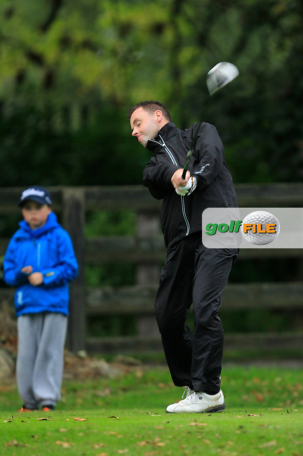 Wayne O'Callaghan (Fernhill G.C) on the 1st tee during Round 3 of The Cassidy Golf 103rd Irish PGA Championship in Roganstown Golf Club on Saturday 12th October 2013.<br /> Picture:  Thos Caffrey / www.golffile.ie