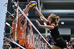 23.08.2018, Sporthalle Berg Fidel, Muenster<br />Volleyball, LŠnderspiel / Laenderspiel, Deutschland vs. Niederlande<br /><br />Block / Doppelblock Anne Buijs (#11 NED), Tessa Polder (#20 NED) - Angriff Maren Fromm (#4 GER)<br /><br />  Foto &copy; nordphoto / Kurth