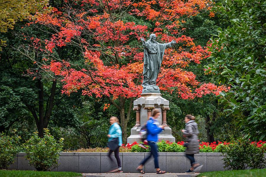 October 5, 2018; Jesus statue on Main Quad (Photo by Matt Cashore/University of Notre Dame)