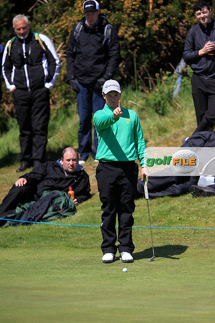 Jack Hume (IRL) on the 10th green during Round 1 of the 2015 Dubai Duty Free Irish Open, Royal County Down Golf Club, Newcastle Co Down, Northern Ireland. 28/05/2015<br /> Picture Thos Caffrey, www.golffile.ie