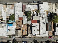 Aerial view streets and roofs of houses in Progressive colony. Mexican popular neighborhood. neighborhoods of mexico.<br />