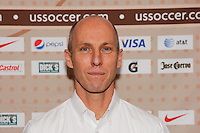 United States head coach Bob Bradley during a photo opportunity prior to a press conference announcing a contract extension for U. S. Men's National Soccer Team head coach Bob Bradley in New York, NY, on August 31, 2010.