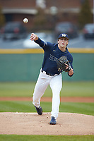 Wingate Bulldogs starting pitcher Hunter Dula (17) delivers a pitch to the plate against the Concord Mountain Lions at Ron Christopher Stadium on February 1, 2020 in Wingate, North Carolina. The Bulldogs defeated the Mountain Lions 8-0 in game one of a doubleheader. (Brian Westerholt/Four Seam Images)