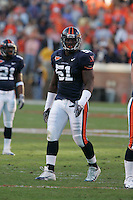 Virginia Cavalier lineman Clint Sintim playing in Scott Stadium at the University of Virginia in Charlottesville, VA. Photo/Andrew Shurtleff.