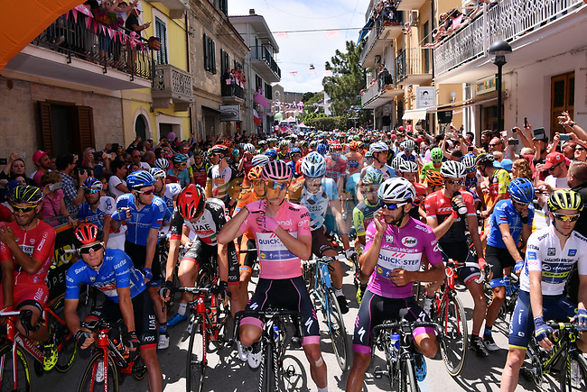 The leaders jerseys lined up before the start of Stage 9 of the 100th edition of the Giro d'Italia 2017, running 149km from Montenero di Bisaccia to Blockhaus, Italy. 14th May 2017.<br /> Picture: LaPresse/Gian Mattia D'Alberto | Cyclefile<br /> <br /> <br /> All photos usage must carry mandatory copyright credit (&copy; Cyclefile | LaPresse/Gian Mattia D'Alberto)