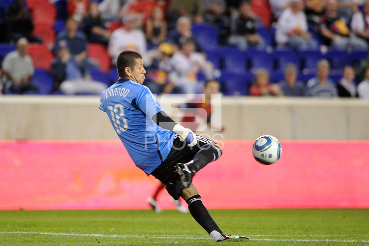 Real Salt Lake goalkeeper Nick Rimando (18). Real Salt Lake defeated the New York Red Bulls 3-1 during a Major League Soccer (MLS) match at Red Bull Arena in Harrison, NJ, on September 21, 2011.