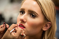 NWA Democrat-Gazette/ANTHONY REYES &bull; @NWATONYR<br /> Kate Halverson gets he make-up applied Friday, Nov. 6, 2015 before a fashion show at the Springdale Civic Center. Northwest Arkansas Community College is sponsoring the show. It will feature designs from Gatsby's Boutique of Fayetteville, Cinderella's Boutique of Rogers and designs from Raul Rulli Torres, a NWACC graduate. Torres has shown in New York and was featured in Latino Fashion Week 2014 Dallas. All proceeds from the show benefit the college's scholarship fund.