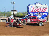 Apr 16, 2011; Surprise, AZ USA; LOORRS driver Wyatt Kirchner (26) is tended to by safety officials after crashing during round 3 at Speedworld Off Road Park. Mandatory Credit: Mark J. Rebilas-.
