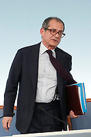 Minister of Economy Giovanni Tria<br /> Roma 24/07/2018. Conferenza stampa al termine del Consiglio dei Ministri.<br /> Rome 24th of July. Press conference at the end of Ministers Cabinet .<br /> Foto Samantha Zucchi Insidefoto