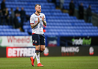 Bolton Wanderers' David Wheater applauds his side's supporters at the end of the match  <br /> <br /> Photographer Andrew Kearns/CameraSport<br /> <br /> The EFL Sky Bet Championship - Bolton Wanderers v Norwich City - Saturday 16th February 2019 - University of Bolton Stadium - Bolton<br /> <br /> World Copyright © 2019 CameraSport. All rights reserved. 43 Linden Ave. Countesthorpe. Leicester. England. LE8 5PG - Tel: +44 (0) 116 277 4147 - admin@camerasport.com - www.camerasport.com