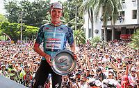 MEDELLIN - COLOMBIA, 15-02-2019: Bob JUNGELS (LUX), Deceuninck - Quick Step Floors (BEL), celebra como ganador de la cuarta etapa del Tour Colombia 2.1 2019 con un recorrido de 144 Km, que se corrió con salida y llegada en el estadio Atanasio Girardot de la ciudad de Medellín. / Bob JUNGELS (LUX), Deceuninck - Quick Step Floors (BEL), celebrates as winner of the fourth stage of 144 km of Tour Colombia 2.1 2019 that ran with start and arrival in Atanasio Girardot stadium in Medellin city.  Photo: VizzorImage / Fedeciclismo Prensa