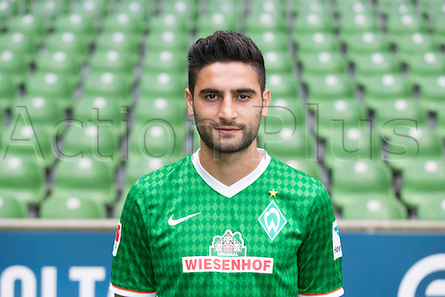 29.07.2013. Bremen, Germany.  The picture shows German Soccer Bundesliga club SV Werder Bremen's Mehmet Ekici during the official photocall for the season 2013-14 in Bremen.