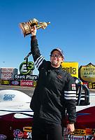 Feb 11, 2019; Pomona, CA, USA; NHRA super gas driver Pete Zak celebrates after winning the Winternationals at Auto Club Raceway at Pomona. Mandatory Credit: Mark J. Rebilas-USA TODAY Sports