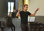 Music Director Tony Kieraldo conducts an act at an Open Rehersal of the opera, The Mother of Us All, at the Hudson Opera House, in Hudson, NY, on Friday, October 27, 2017. Photo by Jim Peppler. Copyright/Jim Peppler-2017.