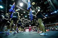 19.01.2019 Silver Ferns walk out onto the court during the Silver Ferns v Australia netball test match at The Copper Box Arena. Mandatory Photo Credit ©Michael Bradley Photography/Christopher Lee