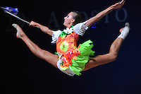 Melitina Staniouta of Belarus performs split leap during gala at 2010 Pesaro World Cup on August 29, 2010 at Pesaro, Italy.  Photo by Tom Theobald.