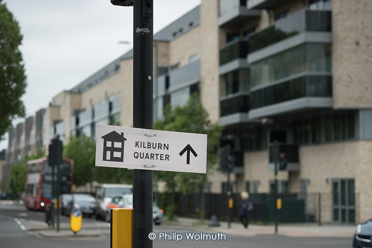Sign to Kilburn Quarter, the renamed new housing blocks on South Kilburn Estate,  London Borough of Brent, .