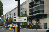 Sign to Kilburn Quarter, the renamed new housing blocks on South Kilburn Estate,  London Borough of Brent, .