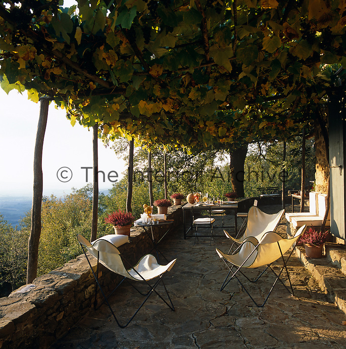 The vine-covered terrace which runs along the front of the house is the perfect place from which to view the surrounding landscape