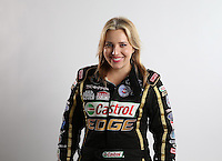 Feb. 22, 2013; Chandler, AZ, USA; NHRA top fuel dragster driver Brittany Force poses for a portrait during qualifying for the Arizona Nationals at Firebird International Raceway. Mandatory Credit: Mark J. Rebilas-