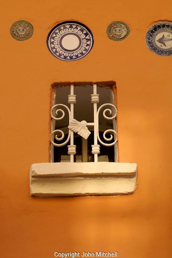 Iron window of a restored house in Old Mazatlan, Sinaloa, Mexico