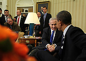 United States President Barack Obama, right, shakes hands with Prime Minister Benjamin Netanyahu of Israel, left, in the Oval Office of the White House in Washington, D.C., Monday, March 5, 2012..Credit: Martin H. Simon / Pool via CNP