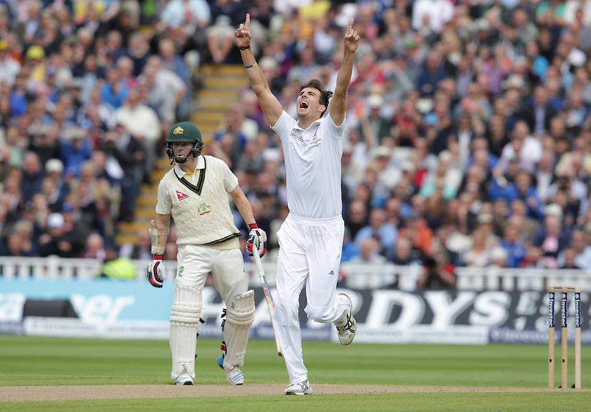 England's Steven Finn celebrates taking the wicket of <br /> SPD Smith c Cook b Finn 7<br /> <br /> Photographer Stephen White/CameraSport<br /> <br /> International Cricket - Investec Ashes Test Series 2015 - Third Test - England v Australia - Day 1 - Wednesday 29th July 2015 - Edgbaston - Birmingham <br /> <br /> &copy; CameraSport - 43 Linden Ave. Countesthorpe. Leicester. England. LE8 5PG - Tel: +44 (0) 116 277 4147 - admin@camerasport.com - www.camerasport.com