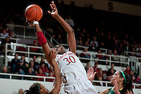 STANFORD, CA-JANUARY 5, 2012 - Nnemkadi Ogwumike reaches for the high pass during PAC-12 conference play against the University of Oregon.