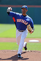 Buffalo Bisons starting pitcher Miguel Batista #47 delivers a pitch during a game against the Toledo Mudhens at Coca-Cola Field on August 17, 2011 in Buffalo, New York.  Buffalo defeated Toledo 4-2.  (Mike Janes/Four Seam Images)