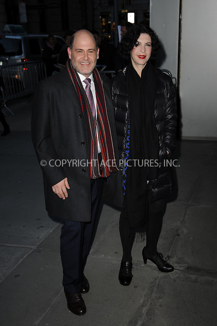 WWW.ACEPIXS.COM<br /> March 22, 2015 New York City<br /> <br /> Mathew Weiner and Linda Brettler  attending the 'Mad Men' New York Special Screening at The Museum of Modern Art on March 22, 2015 in New York City.<br /> <br /> Please byline: Kristin Callahan/AcePictures<br /> <br /> ACEPIXS.COM<br /> <br /> Tel: (646) 769 0430<br /> e-mail: info@acepixs.com<br /> web: http://www.acepixs.com