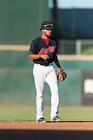 AZL Indians 1 shortstop Marcos Gonzalez (1) during an Arizona League playoff game against the AZL Rangers at Goodyear Ballpark on August 28, 2018 in Goodyear, Arizona. The AZL Rangers defeated the AZL Indians 1 7-4. (Zachary Lucy/Four Seam Images)