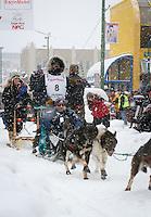 Cim Smyth leaves the 2011 Iditarod ceremonial start line in downtown Anchorage, during the 2012 Iditarod..Jim R. Kohl/Iditarodphotos.com