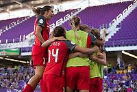Orlando, FL - Saturday October 14, 2017: Lindsey Horan, Tobin Heath and Emily Menges during the NWSL Championship match between the North Carolina Courage and the Portland Thorns FC at Orlando City Stadium.   The Portland Thorns won the championship, 1-0.