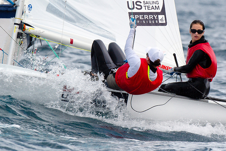 SANTANDER, SPAIN - SEPTEMBER 19:  470 Women - USA1712 - Anne Haeger / Briana Provancha in action during Day 8 of the 2014 ISAF Sailing World Championships on September 19, 2014 in Santander, Spain.  (Photo by MickAnderson/SAILINGPIX via Getty Images)
