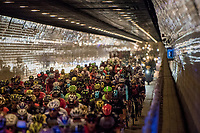part of the neutralised section sent the peloton under the Schelde river via the famous 'Konijnenpijp' tunnel - riders (kids that they are) tested the echo by wissling  &amp; shouting collectively<br /> <br /> 101th Ronde Van Vlaanderen 2017 (1.UWT)<br /> 1day race: Antwerp &rsaquo; Oudenaarde - BEL (260km)