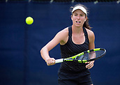 June 13th 2017, Nottingham, England; WTA Aegon Nottingham Open Tennis Tournament;  Johanna Konta of Great Britain warming up before her appearance on centre court against Tara Moore