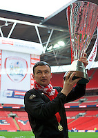 Caretaker Head Coach Paul Heckingbottom of Barnsley with the trophy after winning the Johnstone's Paint Trophy Final match between Oxford United and Barnsley at Wembley Stadium, London, England on 3 April 2016. Photo by Alan  Stanford / PRiME Media Images.