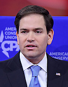 United States Senator Marco Rubio (Republican of Florida) speaks at the Conservative Political Action Conference (CPAC) at the Gaylord National at National Harbor, Maryland on Friday, February 27, 2015.<br /> Credit: Ron Sachs / CNP