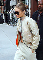 www.acepixs.com<br /> <br /> February 16 2017, New York City<br /> <br /> Model Gigi Hadid shows off her abs in a quirky cream outfit as she leaves her East Village apartment on February 16 2017 in New York City<br /> <br /> By Line: Zelig Shaul/ACE Pictures<br /> <br /> <br /> ACE Pictures Inc<br /> Tel: 6467670430<br /> Email: info@acepixs.com<br /> www.acepixs.com