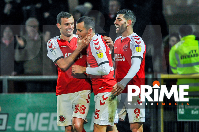 Fleetwood Town's midfielder James Wallace (38) congratulates Fleetwood Town's midfielder Dean Marney (25) during the Sky Bet League 1 match between Fleetwood Town and Coventry City at Highbury Stadium, Fleetwood, England on 27 November 2018. Photo by Stephen Buckley / PRiME Media Images.